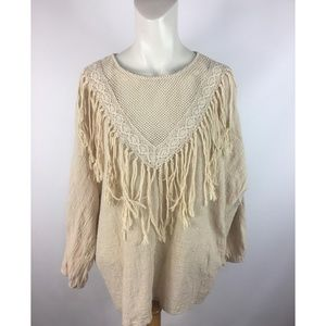 Tassels N Lace Mesh Neck Hippie Boho Blouse Top
